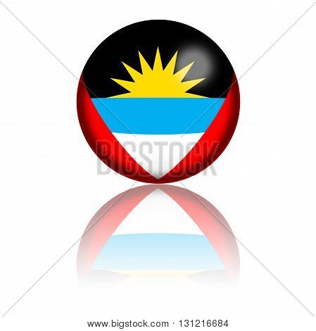 Antigua And Barbuda Flag Sphere 3D Rendering