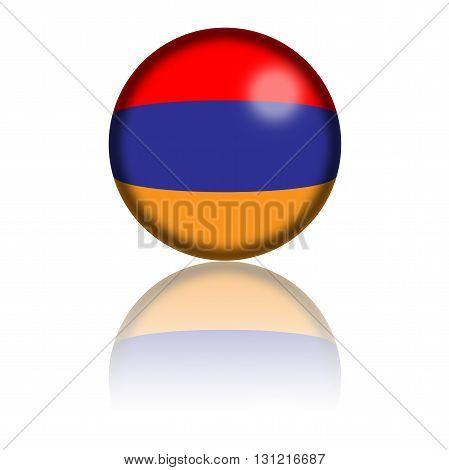 Armenia Flag Sphere 3D Rendering