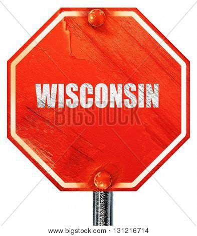 wisconsin, 3D rendering, a red stop sign