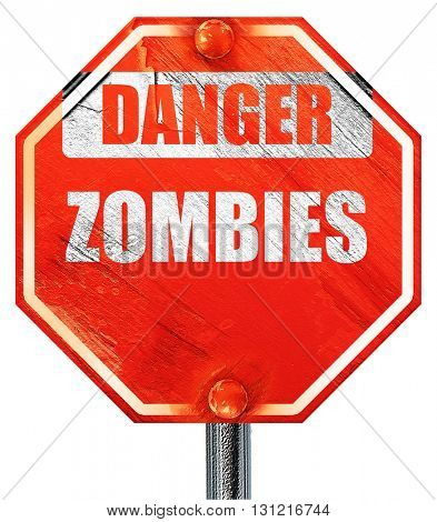 zombie virus concept background, 3D rendering, a red stop sign