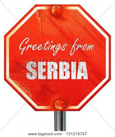 Greetings from serbia, 3D rendering, a red stop sign