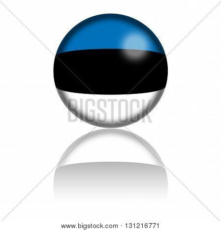 Estonia Flag Sphere 3D Rendering