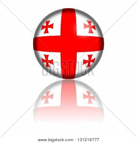Georgia Flag Sphere 3D Rendering