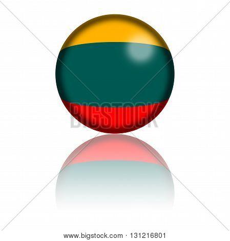 Lithuania Flag Sphere 3D Rendering
