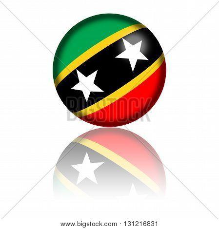 Saint Kitts And Nevis Flag Sphere 3D Rendering