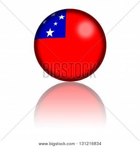 Samoa Flag Sphere 3D Rendering