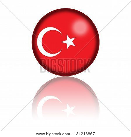 Turkey Flag Sphere 3D Rendering