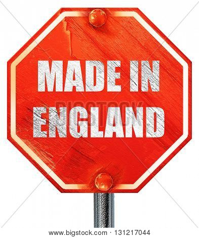 Made in england, 3D rendering, a red stop sign
