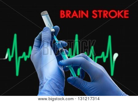 Treatment of brain stroke. Syringe is filled with injection. Syringe and vaccine. Medical concept.