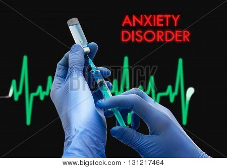 Treatment of anxiety disorder. Syringe is filled with injection. Syringe and vaccine. Medical concept.
