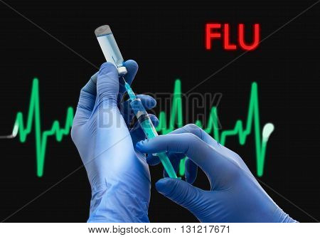 Treatment of flu. Syringe is filled with injection. Syringe and vaccine. Medical concept.