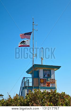 Lifeguard hut on the Malibu beach. California