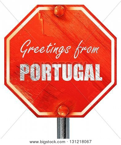 Greetings from portugal, 3D rendering, a red stop sign