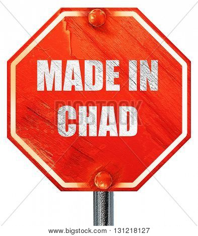 Made in chad, 3D rendering, a red stop sign