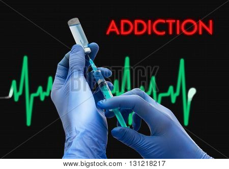 Treatment of addiction. Syringe is filled with injection. Syringe and vaccine. Medical concept.