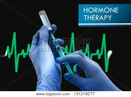 Hormone therapy. Syringe is filled with injection. Syringe and vaccine. Medical concept.