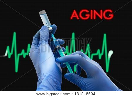 Treatment of aging. Syringe is filled with injection. Syringe and vaccine. Medical concept.