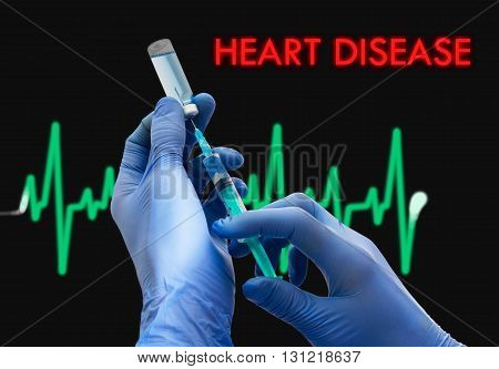 Treatment of heart disease. Syringe is filled with injection. Syringe and vaccine. Medical concept.