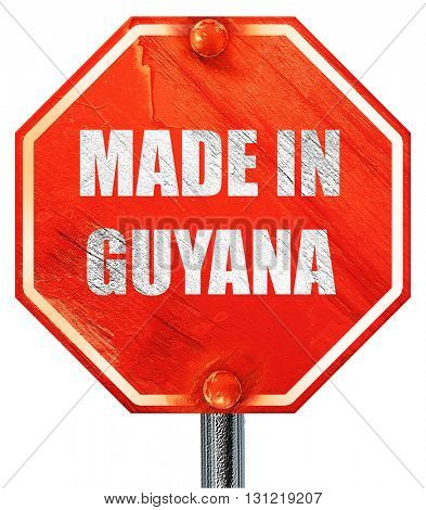 Made in guyana, 3D rendering, a red stop sign