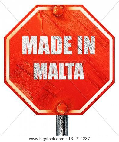 Made in malta, 3D rendering, a red stop sign