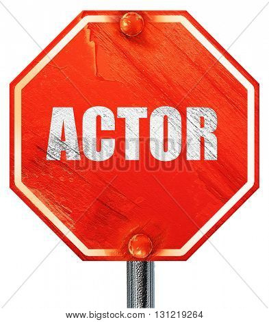 actor, 3D rendering, a red stop sign