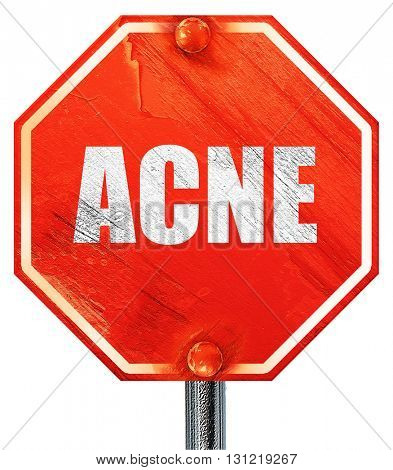 acne, 3D rendering, a red stop sign
