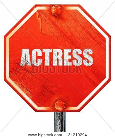 actress, 3D rendering, a red stop sign