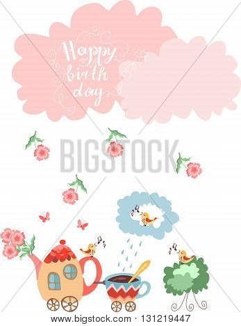 Cute greeting Happy birthday card. Teapot with flowers and cup train. Vector illustration.