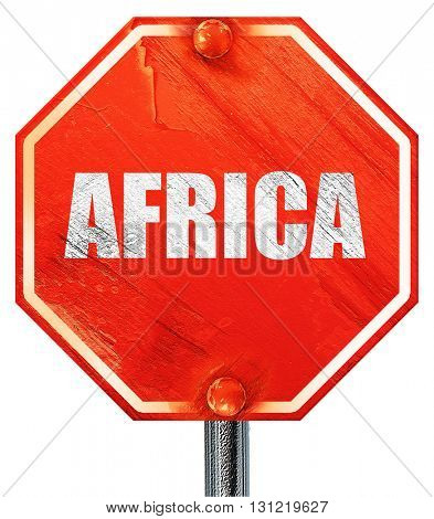 africa, 3D rendering, a red stop sign