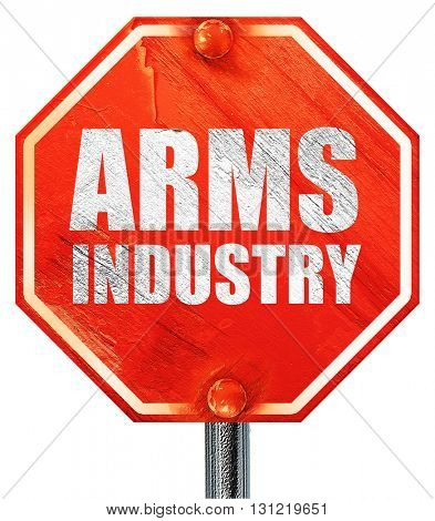 arms industry, 3D rendering, a red stop sign