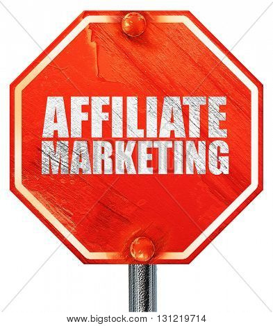 affiliate marketing, 3D rendering, a red stop sign