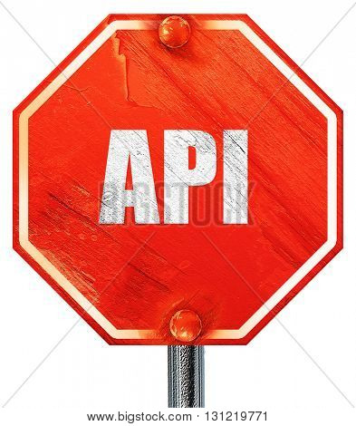 api, 3D rendering, a red stop sign
