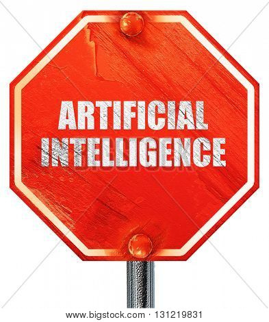 artificial intelligence, 3D rendering, a red stop sign
