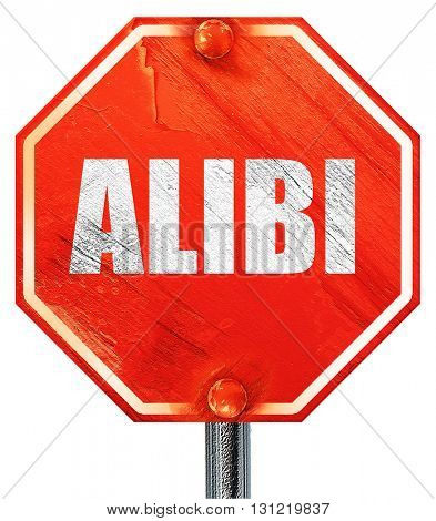 alibi, 3D rendering, a red stop sign