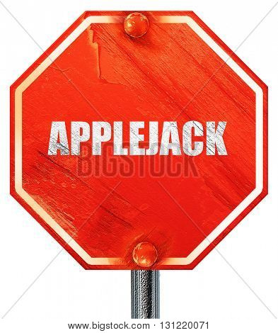 applejack, 3D rendering, a red stop sign