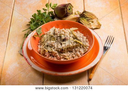 barley risotto with  artichoke