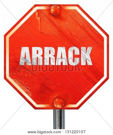 arrack, 3D rendering, a red stop sign