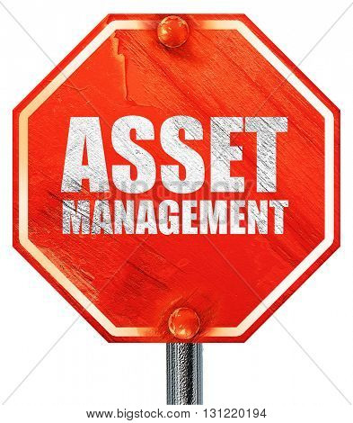 asset management, 3D rendering, a red stop sign