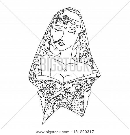 Uncolored indian girl for coloring book, invitation, card. Doodle style.