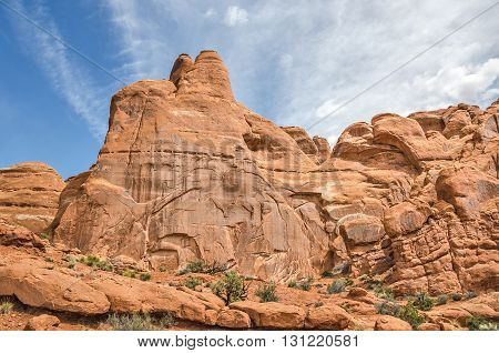 Close-up of the details in the sandstone found at Arches National Park in Utah