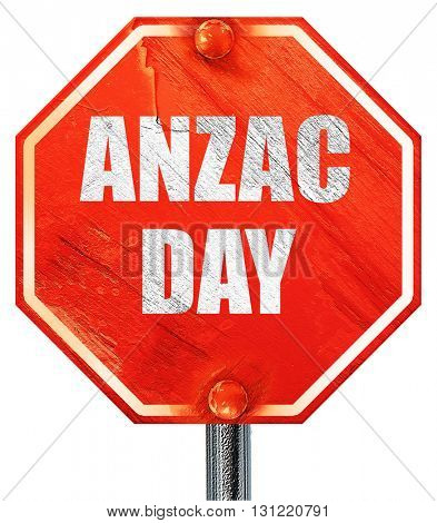 anzac day, 3D rendering, a red stop sign