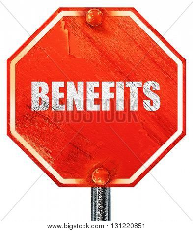 benefits, 3D rendering, a red stop sign