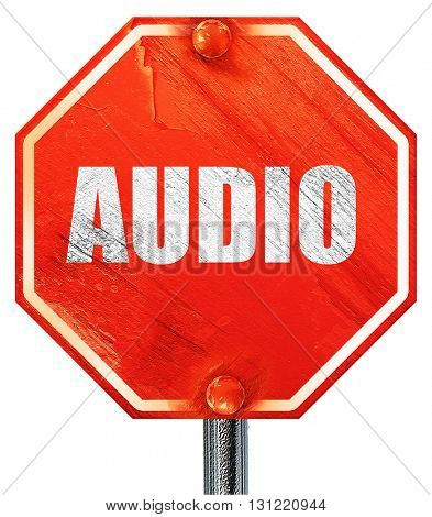 audio, 3D rendering, a red stop sign