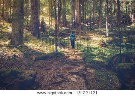 Female hiker on the Upper Myra Falls Trail Vancouver Island British Columbia