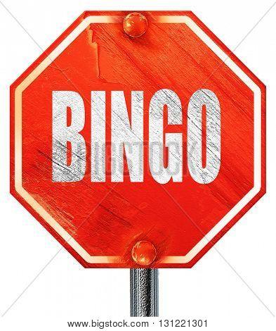 bingo, 3D rendering, a red stop sign