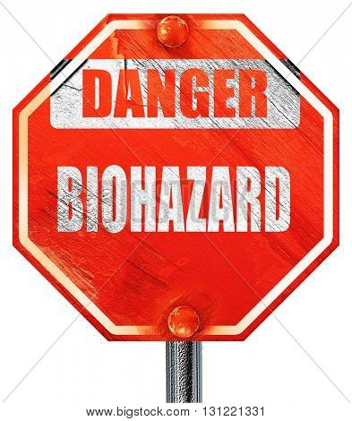 Biohazard sign background, 3D rendering, a red stop sign