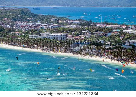 View of Bulabog beach, one of the most sought-after spots for kiteboarding and windsurfing, Boracay island, Philippines.
