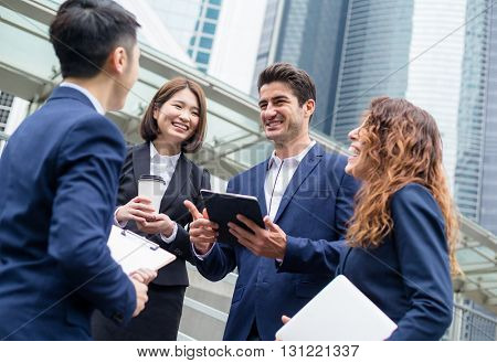 Business team discuss at outdoor
