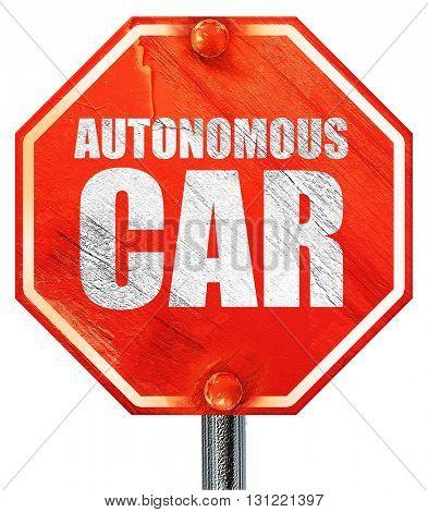 autonomous car, 3D rendering, a red stop sign
