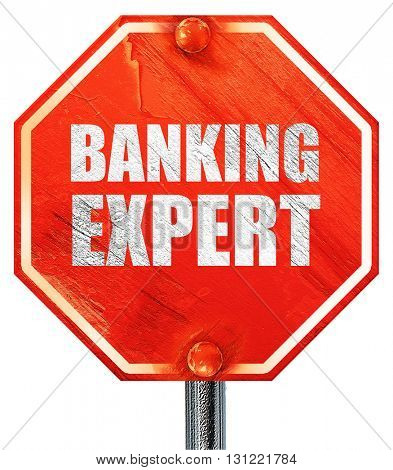 banking expert, 3D rendering, a red stop sign